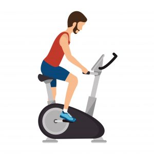 Graphic of man on an upright exercise bike
