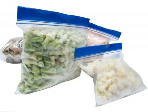 Healthy frozen food in freezer bags